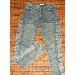 Red Fox sz 11 stretch denim open trashed jeans EUC